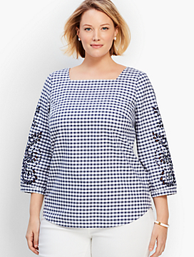 Embroidered-Sleeve Gingham Check Shirt