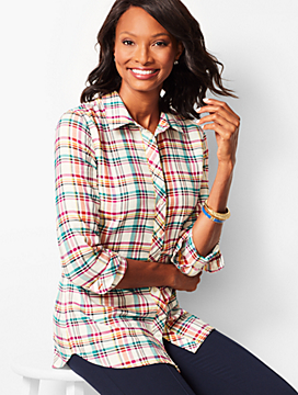 Classic Cotton Shirt - Poppy Plaid