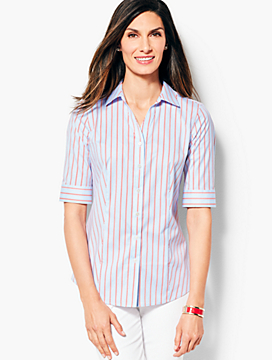 The Perfect Elbow-Sleeve Shirt -Stripe