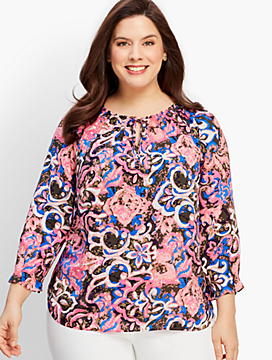 Coral Reef Paisley Tie-Neck Top