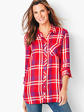 Button-Front Tunic-Plaid