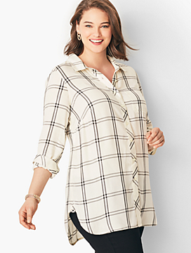 Button-Front Tunic - Windowpane