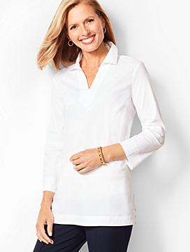 Solid Poplin Tunic Shirt