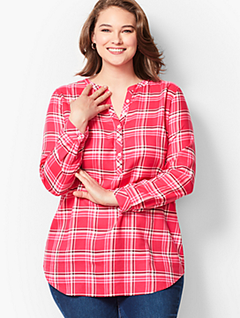 Classic Cotton Band-Collar Popover - Plaid
