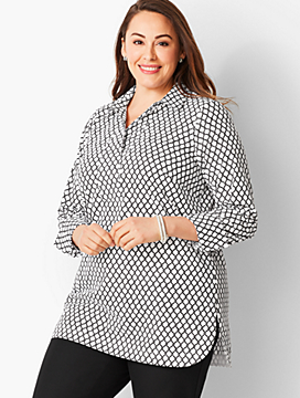 Plus Size Poplin Tunic Top