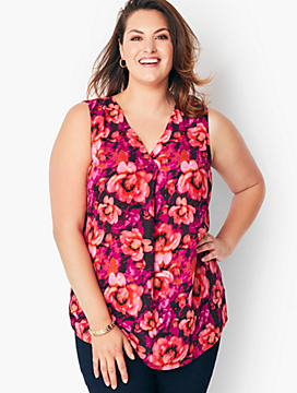 Plus Size Crepe Pleated Tank - Floral Hawthorne