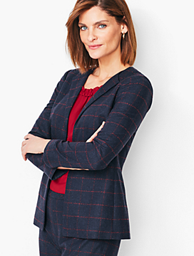 Windowpane Plaid Collarless Jacket
