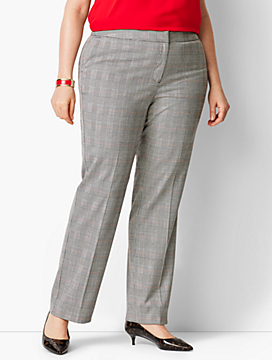 Glen Plaid Straight-Leg Pant