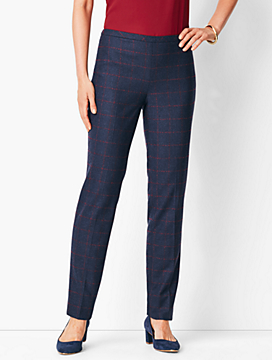Windowpane Plaid Slim-Leg Pants