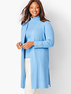 Open-Front Ribbed Duster