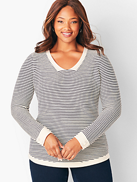 Link-Stitched V-Neck Sweater - Stripe