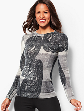 Audrey Cashmere Sweater - Plaid and Paisley