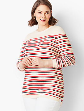 Pointelle Sweater - Striped