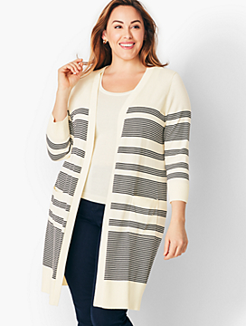 Long Pima Cotton Stripe Cardigan
