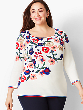 Tipped Square-Neck Sweater-Floral Cascade