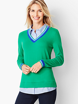 One-Piece V-Neck Sweater and Shirt