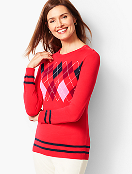 Cotton Argyle Crewneck Sweater