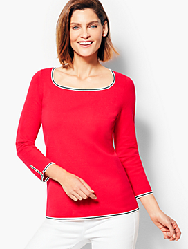 Tipped Square-Neck Sweater