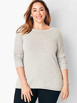 Cotton & Tencel Pearl-Embellished Sweater