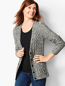 Girlfriend Cable-Knit Cardigan