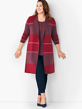 Plus Size Double-Face Sweater Jacket - Striped