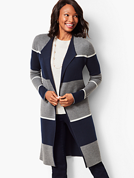 Stripe Merino Double-Face Duster