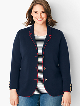 Plus Size Tipped Merino Blazer