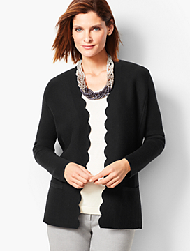 Merino Scallop-Edge Sweater Jacket