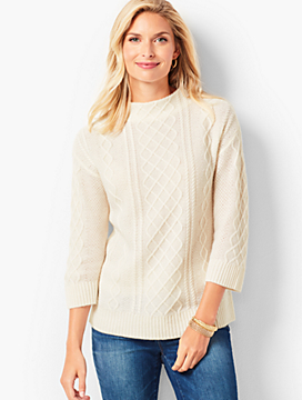 Cashmere Cable Mockneck Sweater