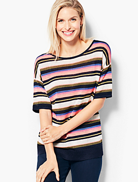 Linen Back-V-Neck Sweater - Stripe