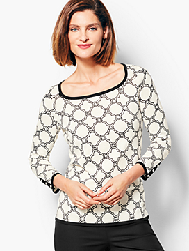 Tipped Square-Neck Sweater - Geo-Print