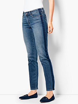Slim Ankle Jean - Shadow Stripe