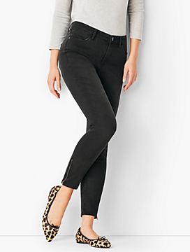 Comfort Stretch Zip Hem Denim Jeggings - Washed Black