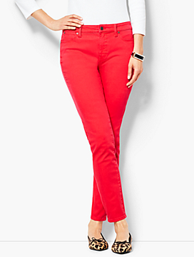 Garment-Dyed Slim Ankle Jeans - Bright Apple