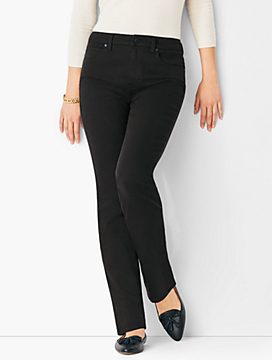 High-Rise Straight-Leg Jeans - Never-Fade Black