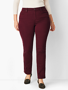Plus Size Comfort Stretch High-Rise Straight-Leg Jeans - Merlot