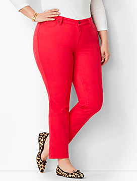 Plus Size Exclusive Garment Dyed Slim Ankle Jeans - Color