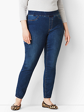 Plus Size Exclusive Pull-On Denim Jegging - Bayview Wash