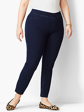 Plus Size Exclusive Comfort Stretch Pull-On Denim Jeggings - Rinse Wash