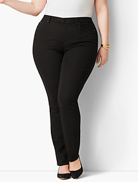 Plus Size Exclusive High-Rise Straight-Leg Jeans - Black