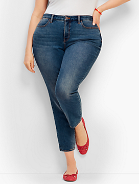 Plus Size Exclusive Denim Slim Ankle Jeans - Curvy Fit/Baxter Wash