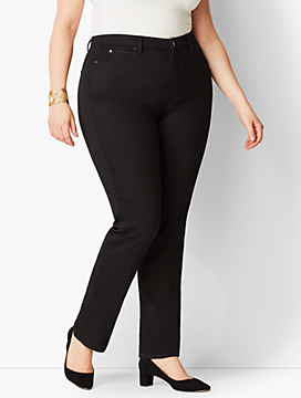 Plus Size Exclusive High-Rise Straight-Leg Jeans - Curvy Fit/Black