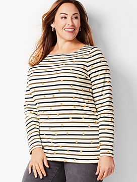 Stripe-Dot Bateau Top