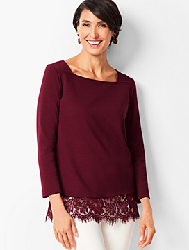 Square-Neck Lace-Hem Top