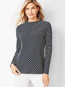 Mockneck Cotton Top - Chevron