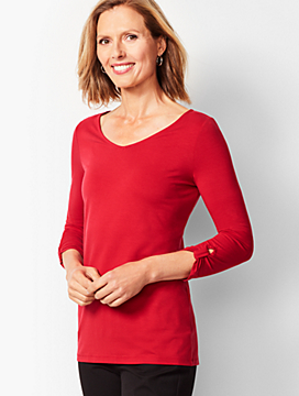 Knot-Sleeve V-Neck Top