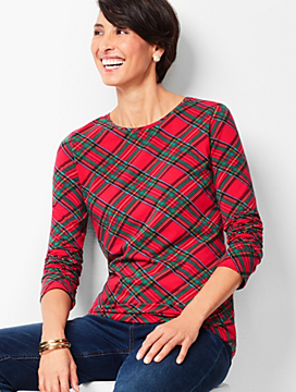 Cotton Crewneck Tee - Tartan Plaid