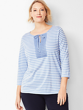 Tie-Detail Lace-Trim Top - Stripe