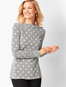 Jacquard-Dot Houndstooth Top
