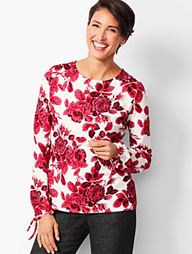 Refined Crepe Tie-Sleeve Top - Floral